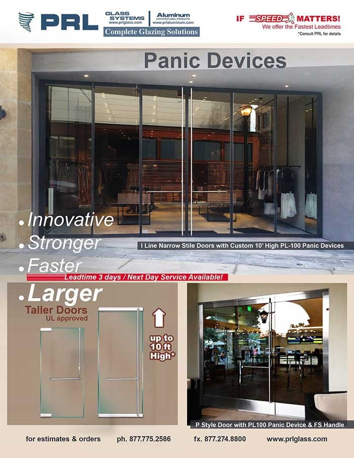 Larger Glass Panic Device Doors