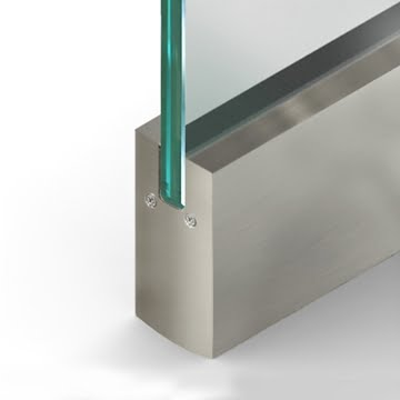 Wet Set Door Rail Square Brushed Stainless Steel